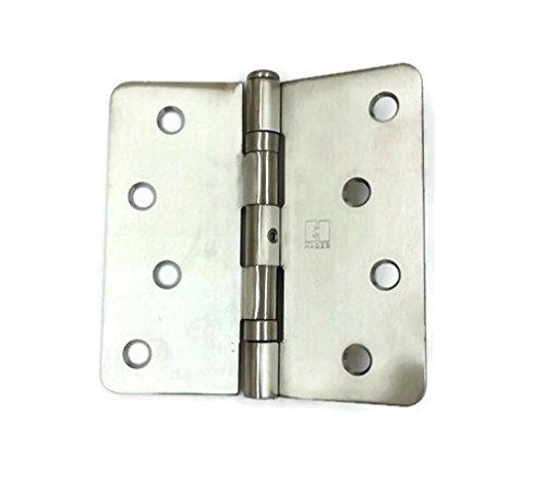 Hager Stainless Steel Door Hinge RCBB1541 NRP 4 x 4 US32D Satin Stainless 14 Radius Corners Full Mortise Residential - 2 per box