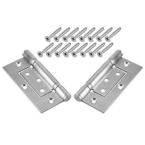 2 Pack Door Hinges YIFAN 394Inch Folding Door Hinge with Screws Satin Finish - Silver