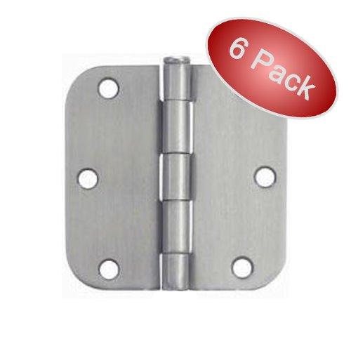 Cosmas Satin Nickel Door Hinge 35 Inch x 35 Inch with 58 Inch Radius Corners - 6 Pack