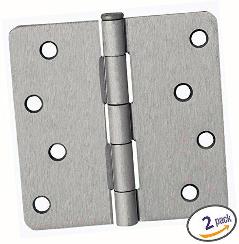 Dynasty Hardware 4 Door Hinges 14 Radius Corner Satin Nickel 2-Pack