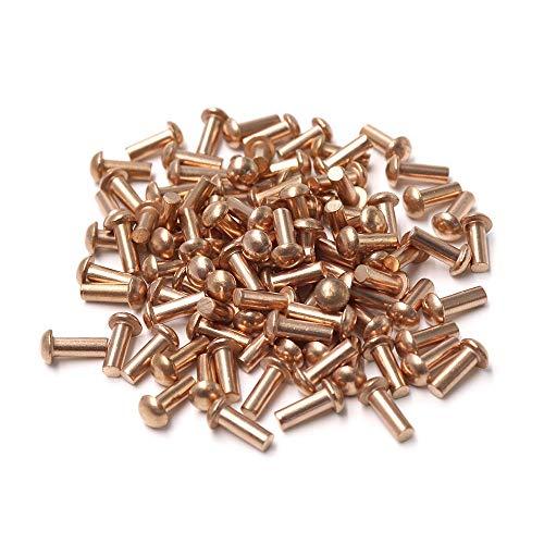Cyful 18 Diameter 516 L Shank Copper Round Head Solid Rivets Fasteners-100pcs