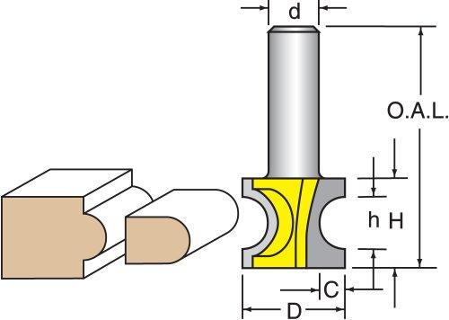 Woodtek 819682 Router Bits Edge Forming Bull Nose Half Radius 38 Diameter Bull Nose Bit 14 Shank