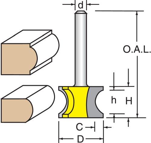 Woodtek 819853 Router Bits Edge Forming Bull Nose Half Radius 1 Diameter Bull Nose Bit 12 Shank