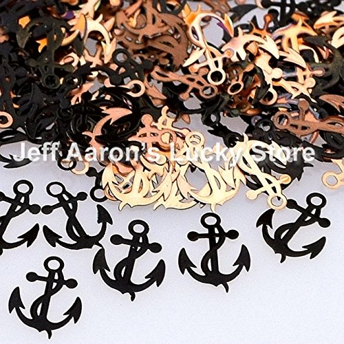 QualluxTM Black anchors design metal nail foil decals slice nail sequin nail art decorations tools New