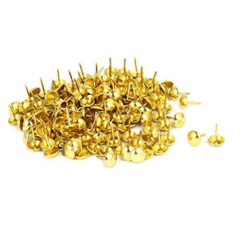 uxcell 716 Inch Head Dia 17mm Height Upholstery Tack Nail Push Pin Gold Tone 200pcs