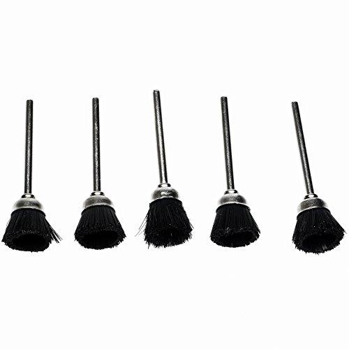Dophee 5Pcs 3mm 325 Mandrel Black Stiff Nylon Cup Brush Polishing Buffing Rotary Tool
