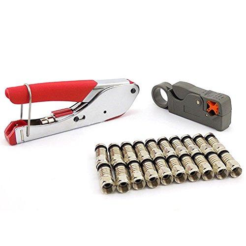 ZJKJ Compression Tool Kit F BNC RCA RG6 RG59 Coaxial Connectors Fitting Coaxial Crimper Cable Coax