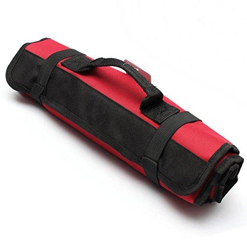 Tinksky Multi-Purpose 22-Pocket Reel Rolling Tool Bag Plier Screwdriver Spanner Carry Case Pouch Bag Red