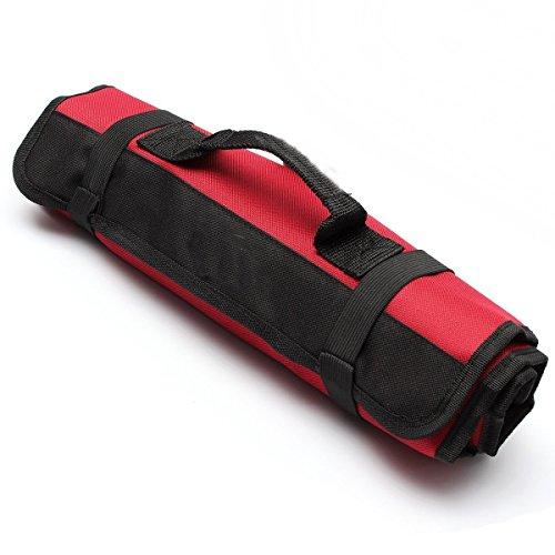 Yosoo Multi-Purpose 22-Pocket Reel Rolling Tool Bag Plier Screwdriver Spanner Carry Case Pouch Bag Red