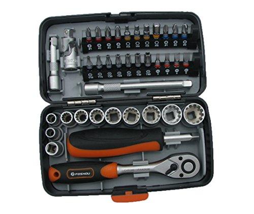 38PCS Mini ratchet wrench set 14 socket screwdriver head hex trox slot bit bike Repair handle tools S2 material
