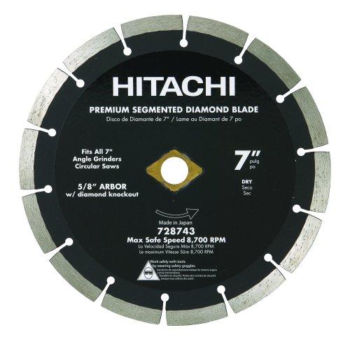 Hitachi 728743 7-Inch Dry Cut Segmented Rim Diamond Saw Blade for Concrete and Masonry