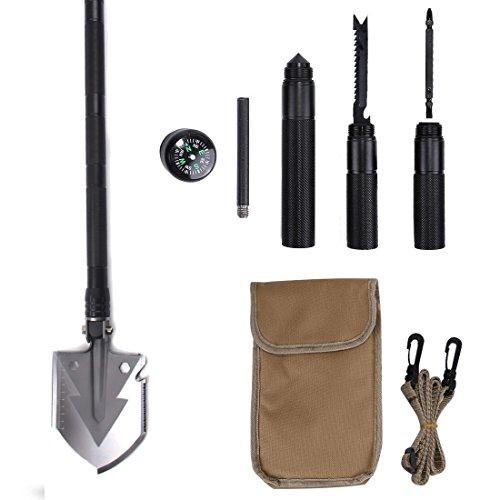 Panda Santa Compact Military Folding Shovel Kit with Survival Tools Multifunctional Emergency Camping Gardening Shovel Carry Bag
